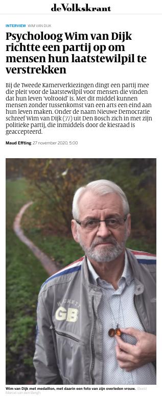 Wim van Dijk in de Volkskrant